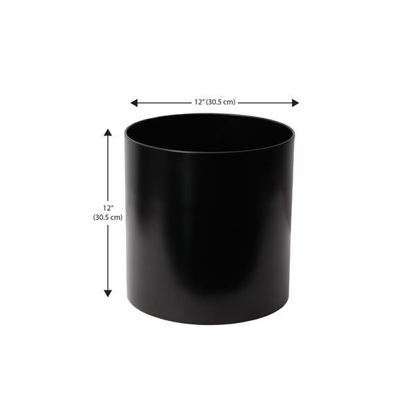 """Jardinière ronde droite en acier inoxydable, 12"""" x 12"""", noir"""