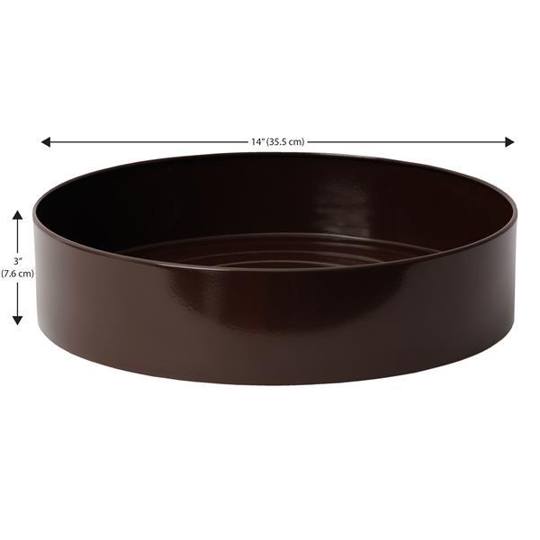 """Jardinière intérieure ronde en acier inox, 14""""x 3"""", Expresso"""