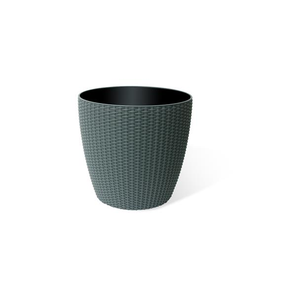 """Wicker Round Planter Pot with Watering Tray-14"""" -Rattan Grey"""