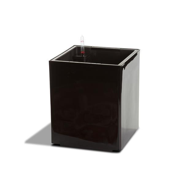 Jardinière en cube auto-irriguante Modena, Noir lustré