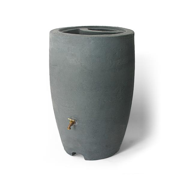 Algreen Athena Rain Barrel - 50 Gallon - Charcoal