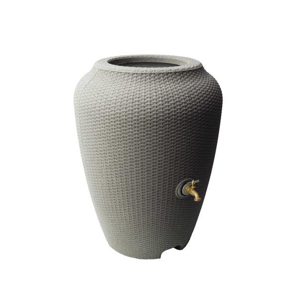 Baril de pluie décoratif Wicker, 50 gallons, grès