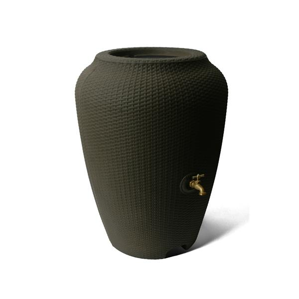 Baril de pluie décoratif Wicker, 50 gallons, brun