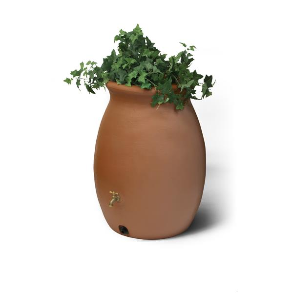 Baril de pluie décoratif Castilla, 50 gallons, terre cuite