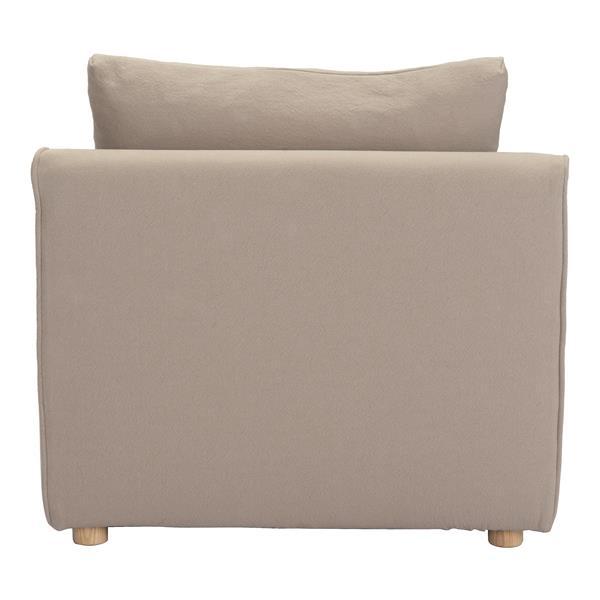 Fauteuil d'appoint California de Zuo Modern, 33,5 po x 35,8 po, beige