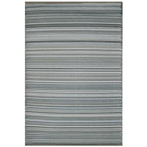 Erbanica Outdoor Plastic Grey Stripe Rug - 5' x 8'