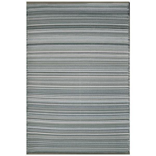 Erbanica Fiesta Outdoor Plastic Grey Stripe Rug - 6' x 9'