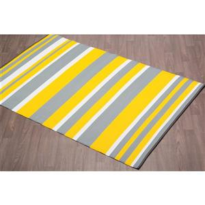 Erbanica Fiesta Outdoor Plastic Yellow Stripe Rug - 5' x 8'