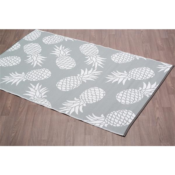 Erbanica Pineapples Outdoor Plastic Grey Rug - 5' x 8'