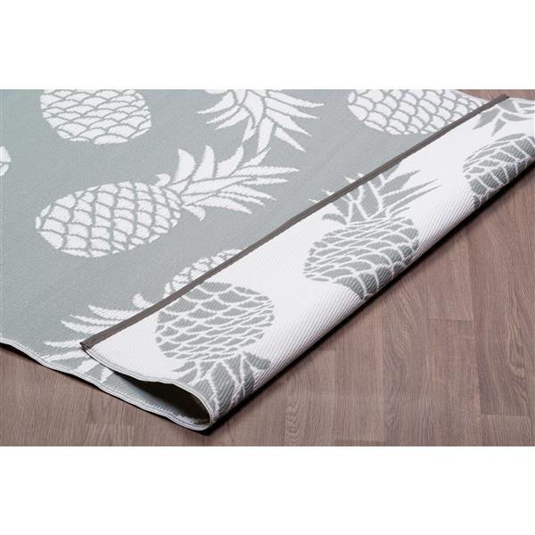 Erbanica Pineapples Outdoor Plastic Grey Rug - 6' x 9'