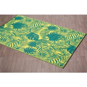 Erbanica Fiesta Outdoor Plastic Green Leaves Rug - 4' x 6'