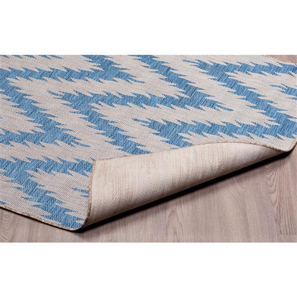 Tapis de polypropylène intérieur-extérieur, Bleu/Gris, 5'x8'