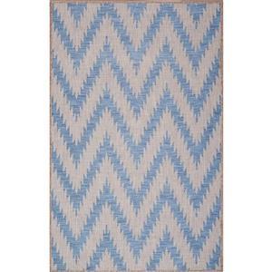 Tapis de polypropylène intérieur-extérieur, Bleu/Gris, 7'x9'
