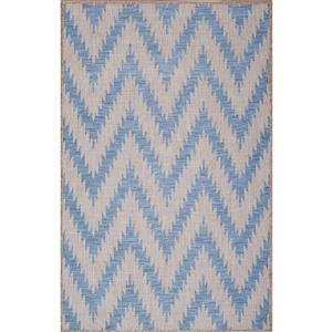 Tapis de polypropylène intérieur-extérieur, Bleu/Gris, 3'x5'