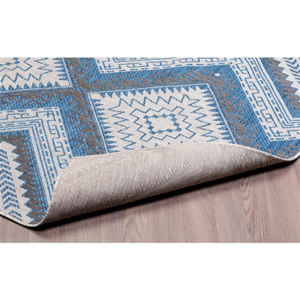 Tapis polypropylène intérieur-extérieur, Gris/Bleu, 7'x9'