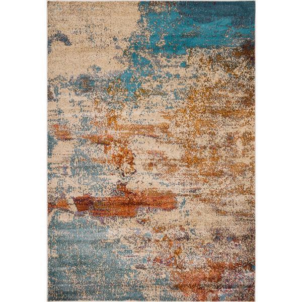 Tapis moderneà motifs abstraits, Multicolore, 8'x10'