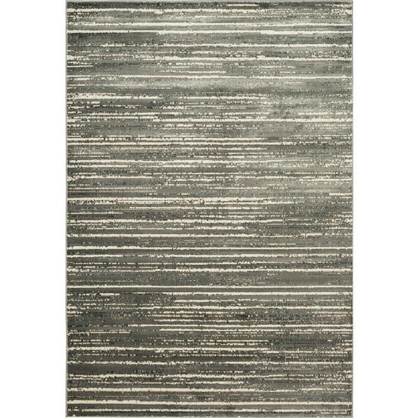 Tapis moderne rayé Murano, Ivoire et gris, 8'x10'