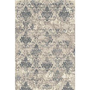 Tapis en polypropylène texturé Beige, Argent et Gris, 8'x10'