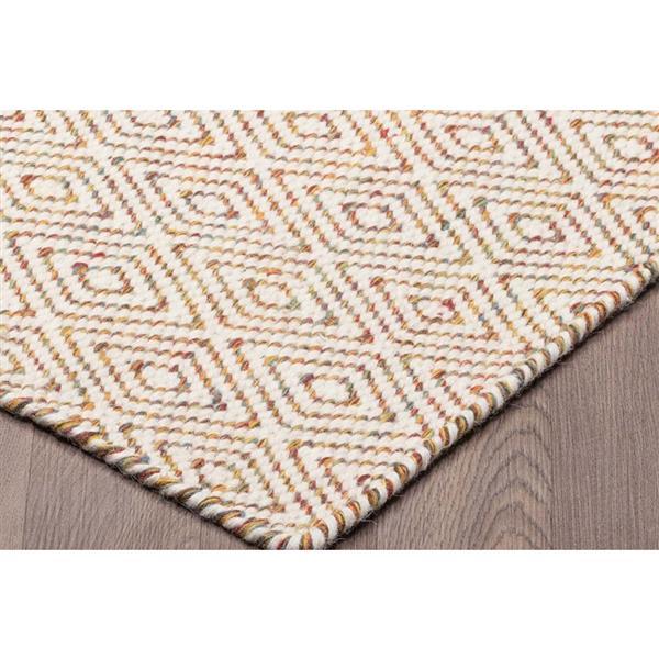 Tapis de laine réversible motifs diamants, Ivoire, 5'x8'