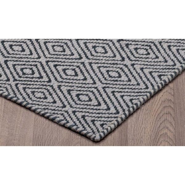 Tapis de laine réversible motifs diamants, Gris/Noir, 8'x10'