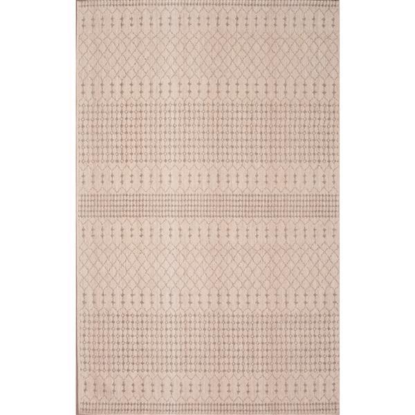 Tapis Moroccon de coton chenille, Beige brun, 5'x8'