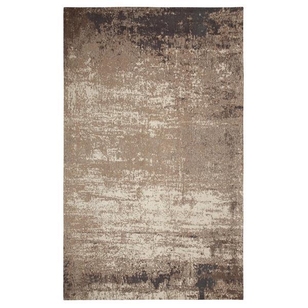 Tapis fait à la main de coton chenille, Gris/Beige, 5'x8'