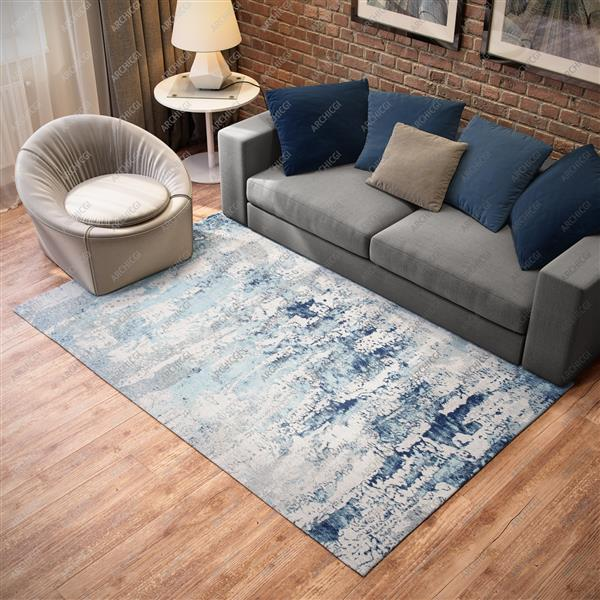 Handmade Chenille Cotton Blue Abstract Rug - 5'x8'