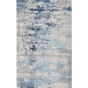 Tapis fait à la main de coton chenille, Bleu, 5'x8'