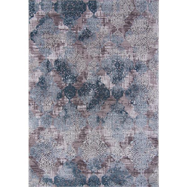 Tapis Lorraine, 5' x 8', polypropylène, gris/bleu