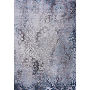 Tapis Emily, 8' x 11', polypropylène, gris/bleu