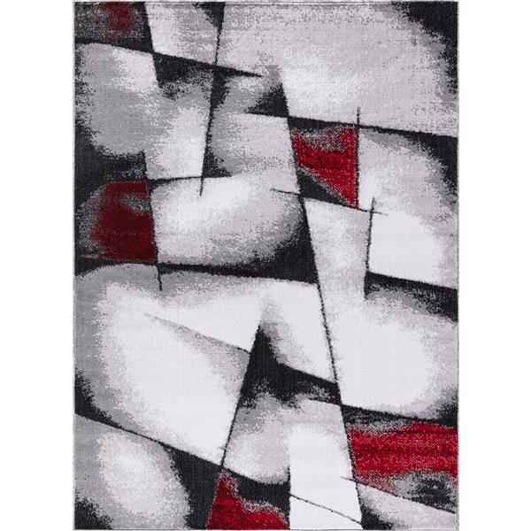 Tapis Geored, 5' x 8', polypropylène, gris/rouge