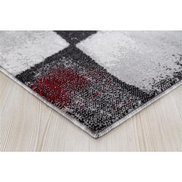 Tapis Geored, 8' x 11', polypropylène, gris/rouge
