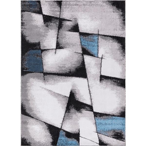 Tapis Geoaqua, 8' x 11', polypropylène, gris/bleu