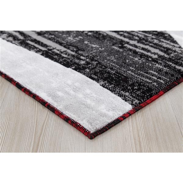 Segma Whirlred Area Rug - 5-ft x 8-ft - Polypropylene - Gray/Red
