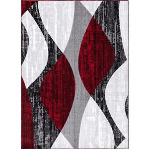 Whirlred Area Rug - 5' x 8' - Polypropylene - Gray/Red