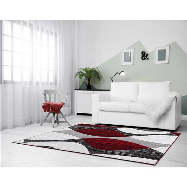 Tapis Whirlred, 8' x 11', polypropylène, gris/rouge
