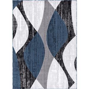 Whirlblue Area Rug - 8' x 11' - Polypropylene - Gray/Blue