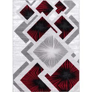 Tapis Diared, 8' x 11', polypropylène, gris/rouge
