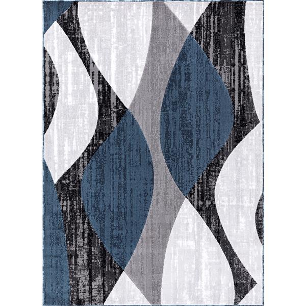 Tapis Whirlblue, 2' x 8', polypropylène, gris/bleu