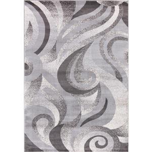 Segma Swirlsplash Area Rug - 8-ft x 11-ft - Polypropylene - Gray