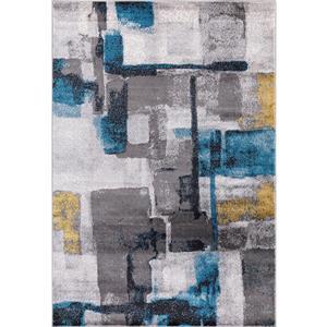 Tapis Geosplash, 8' x 11', polypropylène, gris/bleu