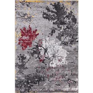 Tapis Bella, 5' x 8', polypropylène, gris/rouge