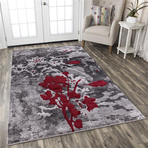 Tapis Verona, 5' x 8', polypropylène, gris/rouge