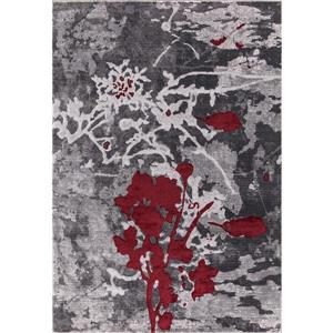 Verona Area Rug - 5' x 8' - Polypropylene - Gray/Red
