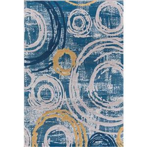 Tapis Eleesia, 8' x 11', polypropylène, bleu