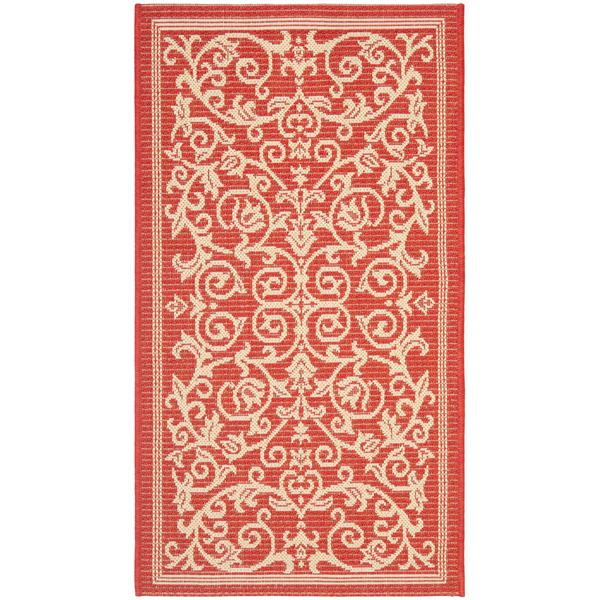 "Safavieh Decorative Courtyard Rug  - 2' x 3' 7"" - Red/Natural"