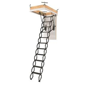 "Fakro Scissor Attic Ladder - 25"" x 54"" - Steel - Gray"