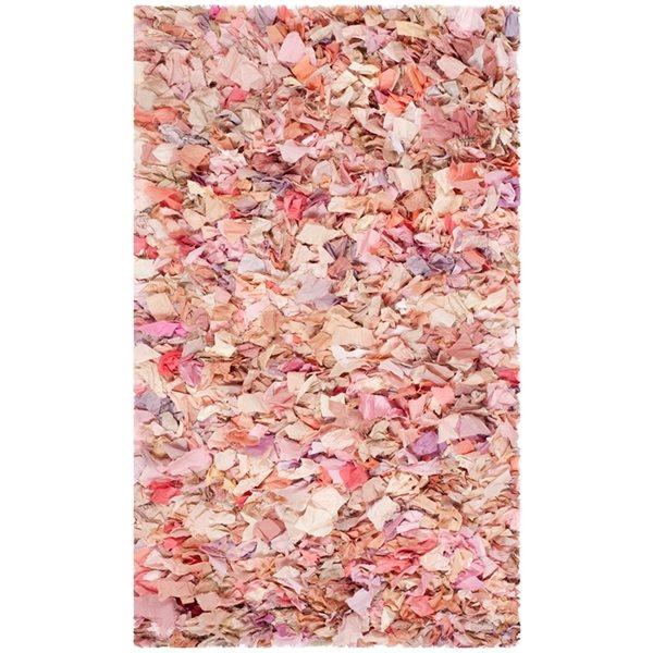 Safavieh Rio Shag Rug - 8' x 10' - Polyester - Ivory/Pink