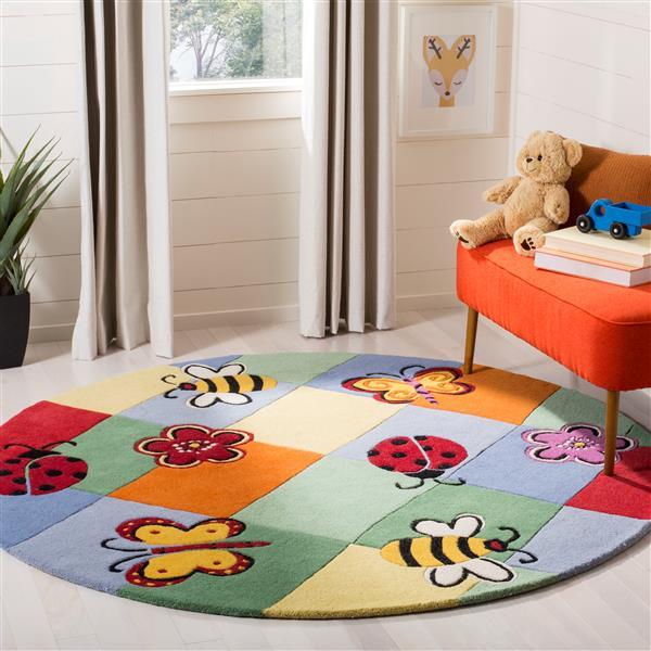 Safavieh Kids Round Rug - 4' x 4' - Wool - Multi
