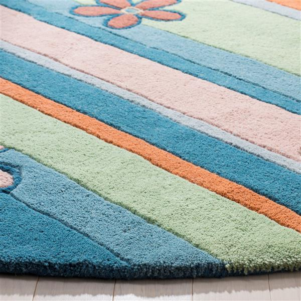 Safavieh Kids Round Rug - 4' x 4' - Wool - Blue/Multi